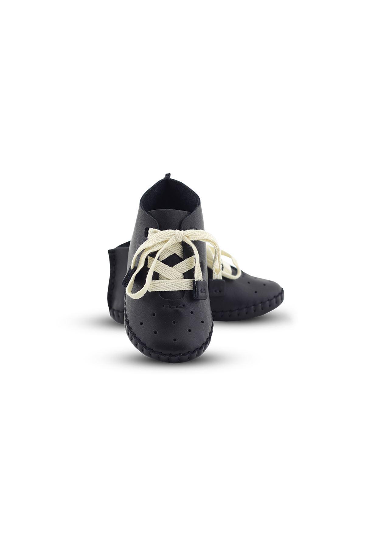 BB02 Siyah Hakiki Deri Unisex Bebek Patik İlk Adım Ev Ayakkabısı