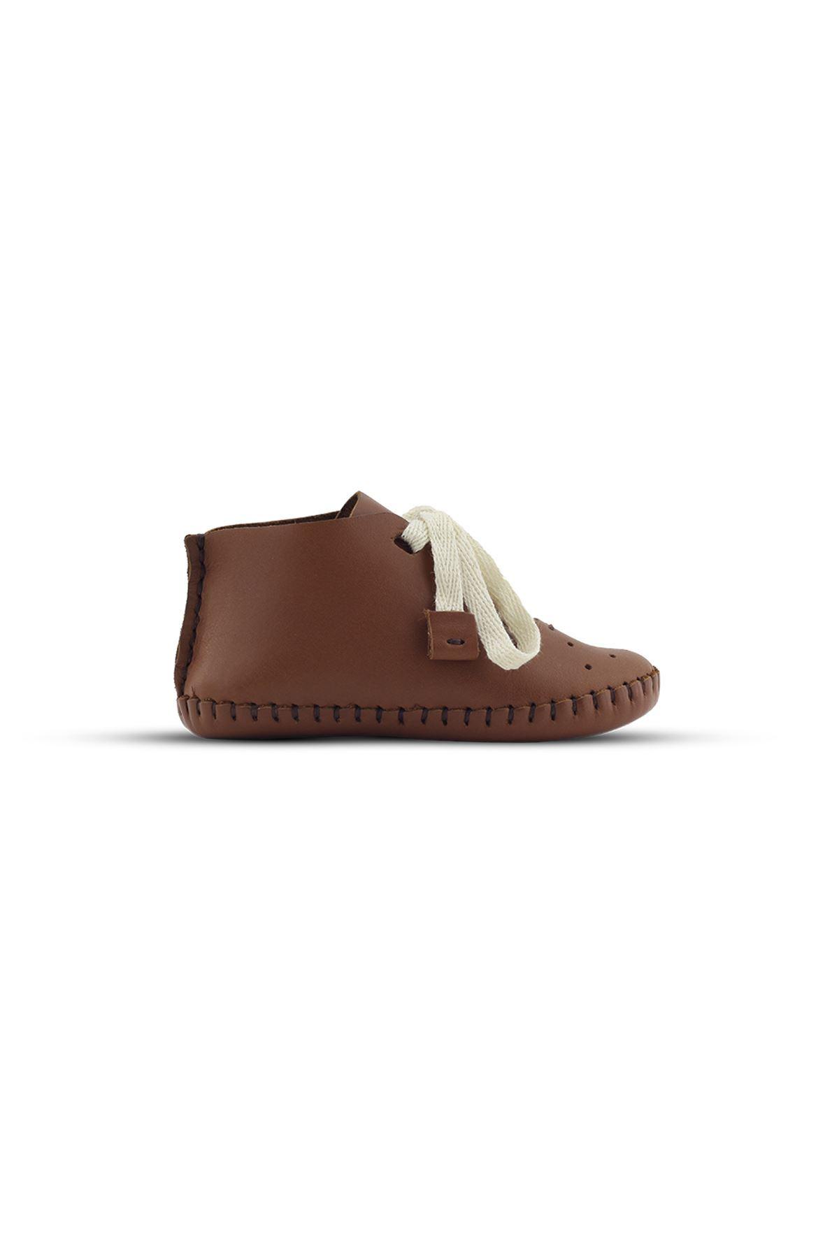 BB02 Taba Hakiki Deri Unisex Bebek Patik İlk Adım Ev Ayakkabısı