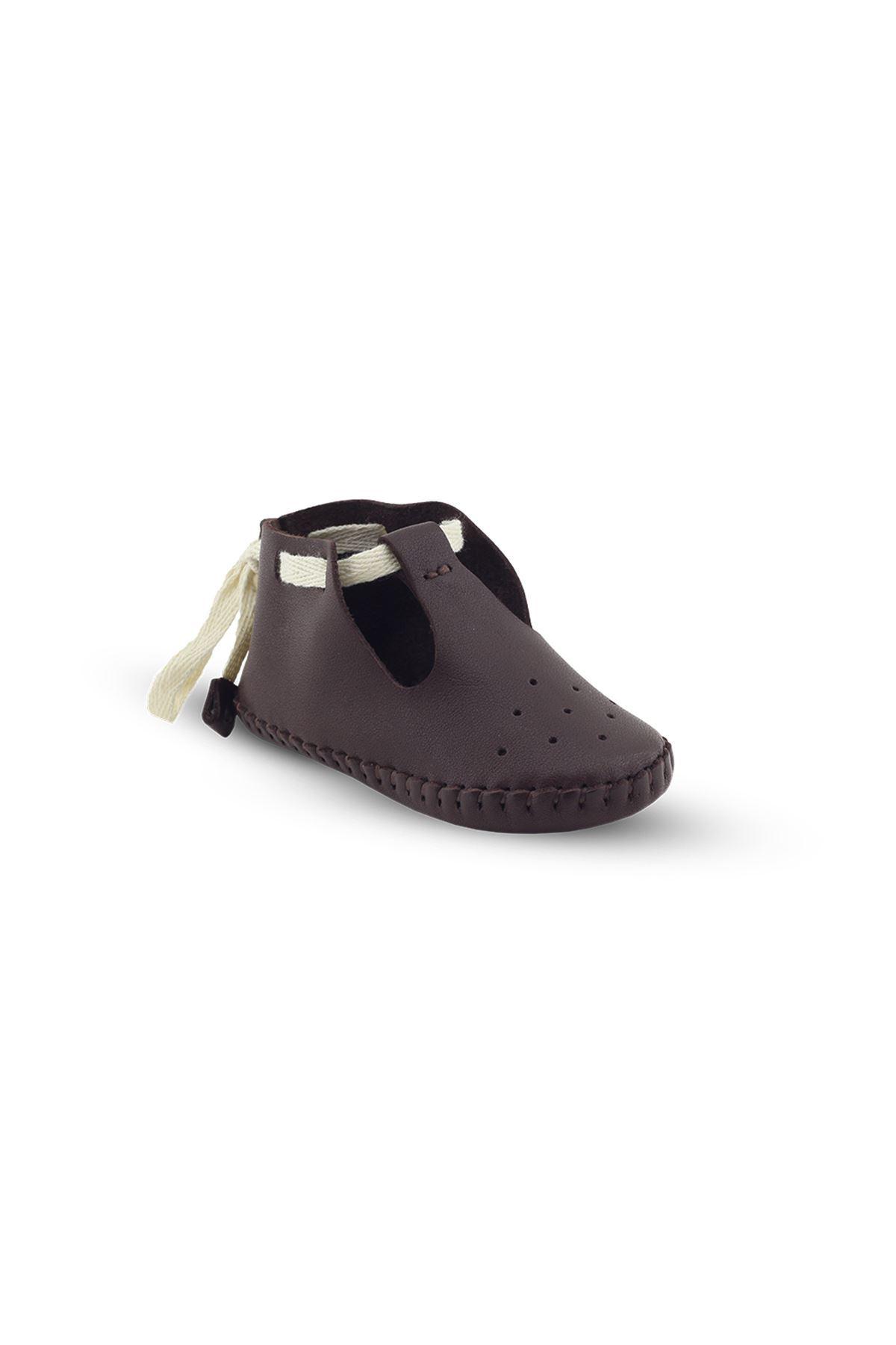 BB03 Kahve Hakiki Deri Unisex Bebek Patik İlk Adım Ev Ayakkabısı