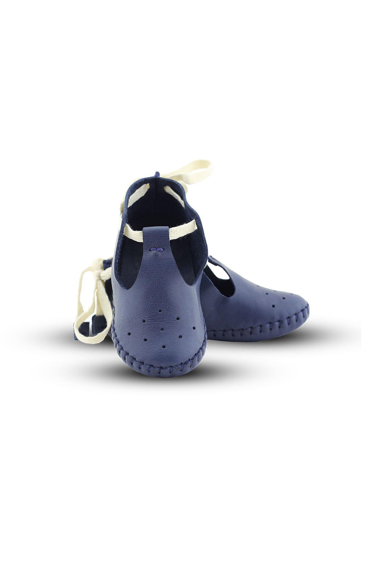 BB03 Lacivert Hakiki Deri Unisex Bebek Patik İlk Adım Ev Ayakkabısı