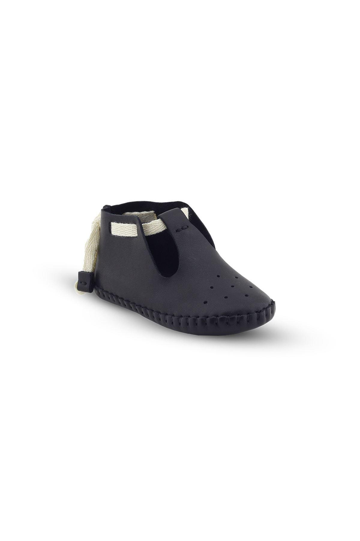 BB03 Siyah Hakiki Deri Unisex Bebek Patik İlk Adım Ev Ayakkabısı